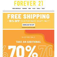 EXTRA 70% OFF IN-STORE ONLY!