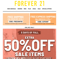 ITS RLY EXTRA: TAKE 50% +15% OFF!