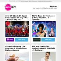 35% Off BT Sport for 12mths | Zeus On The Loose @ Fire Tkt | Life Coaching & Mindfulness Diploma | FUE Hair Transplant | 2 Oktoberfest Tkts, Bratwurst & Beer