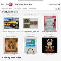 Featured Sales: Primitives, Antiques, U.S. Currency