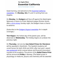Essential California: Dodgers in the playoffs, Nobel prizes and more in the week ahead