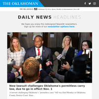 New lawsuit challenges Oklahoma''s permitless carry law, due to go in effect Nov. 1