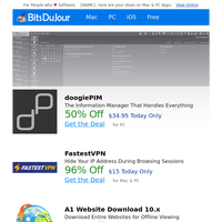 doogiePIM, FastestVPN, A1 Website Download 10.x, Sticky Previews, Back to School 70% Off!, The Scientist at BitsDuJour Today
