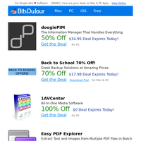 doogiePIM, Back to School 70% Off!, 1AVCenter, Easy PDF Explorer, Rapid PHP 2018, Hyper-V Recovery at BitsDuJour Today
