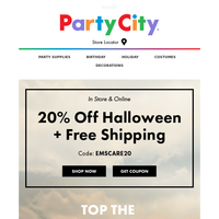 20% Off Halloween In Store & Online + FREE Shipping!