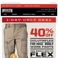 FLASH SALE - 40% OFF Burly DuluthFlex Fire Hose Pants!