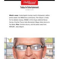 Apple's Road To H'Wood; MSNBCer Defends Farrow; Megyn 'Bombshell'; 'Watchmen' Review