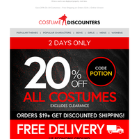 👻 A Sale So Good, It's Spooky! 20% Off ALL Costumes + Free Shipping!