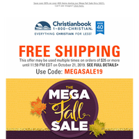 Free Shipping + Savings over 80%: Mega Fall Sale