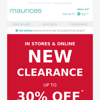 NEW CLEARANCE alert - up to 30% off!