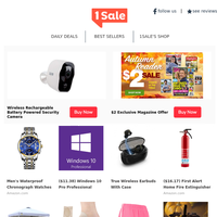 We Caught You Red-handed! Rechargeable Security Cam $48 - $2 1Sale Exclusive Magazine Offer - Waterproof Chronograph Watches $9 - Outdoor Pop-up Canopy $76 - Compression Arch Support Sock $7 & More!