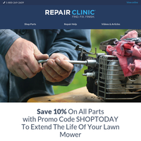 Only A Few Days Left to Save 10% On All Parts To Tune Up Your Mower!