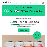 Extra 30% off + 4 FREE gifts with tasty health benefits