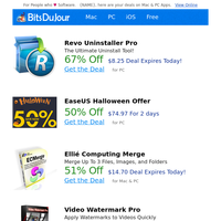 Revo Uninstaller Pro, EaseUS Halloween Offer, Ellié Computing Merge, Video Watermark Pro, VideoGet, NSF Split at BitsDuJour Today