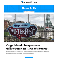 Things To Do:Kings Island changes over Halloween Haunt for Winterfest
