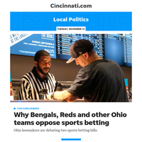 Cincinnati.com Local Politics:Bengals, Reds and other Ohio pro teams oppose sports betting. But it's not for the reason you think.