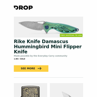 Rike Knife Damascus Hummingbird Mini Flipper Knife, Zippo Lighters: Autumn Luxury Collection, Bestech 1711 Goblin S35VN Folder and more...