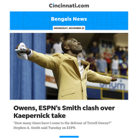 Bengals News:Stephen A. Smith: Terrell Owens texted that Smith has no idea what he's talking about