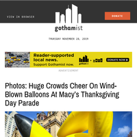 Photos: Huge Crowds Cheer On Wind-Blown Balloons At Macy's Thanksgiving Day Parade
