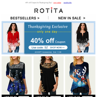 Thanksgiving Day: 40% OFF AND MORE!