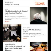The post-Thanksgiving Shabbat quandary • Bernie Sanders' blindspot • Sitting out Vietnam in Manchester's Jewish suburb