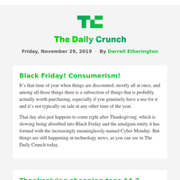 Daily Crunch - Thanksgiving online shopping spikes in 2019