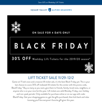 Black Friday Lift Ticket Sale on Now