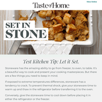 Stoneware cooking tip from Taste of Home.