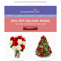 Up to 50% Off Roses + NEW Holiday Vases are here
