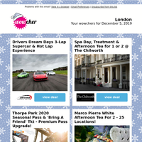 3-Lap Supercar Driving & Hot Lap | Spa Day & Afternoon Tea | Thorpe Park Seasonal Pass BLACK FRIDAY | MPW Afternoon Tea for 2 | Seafront Bournemouth Spa Break & Dining