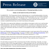 Press Release: TSA screened a record-breaking number of Thanksgiving holiday travelers