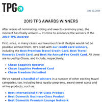 ✈ Meet the Travel, Loyalty and Credit Card Winners of the 2019 TPG Awards & More Daily News ✈