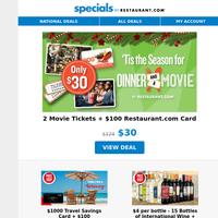 2 Movie Tix + Dinner for ONLY $30! | $1000 Travel Savings Card +Dinner for $20 | Save Over 83% on 15 Bottles of Wine