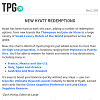 ✈ Use Hyatt Points to Book Even More Luxury Hotels & More Daily News From TPG ✈