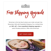 Get it before Christmas: 50% OFF + Free Shipping Upgrade!!