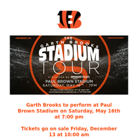 REMINDER: Garth Brooks tickets to go on sale Friday at 10am