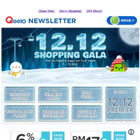 1200 Qpoint, RM100 gift card, 20% cashback, RM22 off, grab all these fabulous deals at our 12.12 Shopping Gala!!