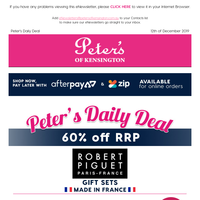 60% off RRP - Robert Piguet Gift Sets (Made in France). Peter's Price $98 per set.