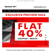 Preview Sale - Flat 40% Off