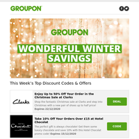 Clarks • Hotel Chocolat • Nike • Ted Baker and more discount codes!