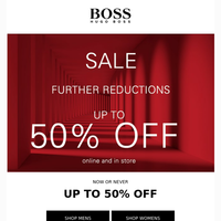 50% OFF - Further Reductions to SALE