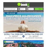 Alert: TRIPLE Codes NOW on BookIt.com