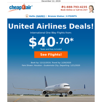 ✈ United Airlines flights from $40.70!