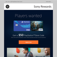 You've invited to apply for the NEW PlayStation Card