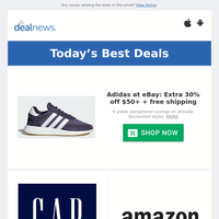 Extra 30% off $50+ Adidas at eBay | Extra 40% off Gap Factory Clearance Sale | Extra 50% off Eddie Bauer Clearance