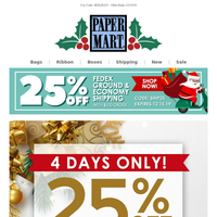 4 DAYS ONLY: 25% Off Christmas Favorites!
