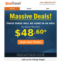 📢 ALERT: Round trip flights from $48.60 can be yours!