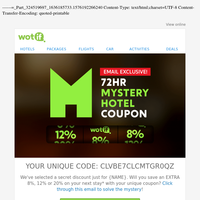 CONFIRMED: Mystery Hotel coupon with your name on...