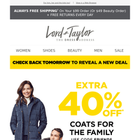 Final hours: extra 40% off coats for the family
