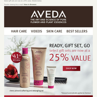 Ready, Gift Set, Go. Select gift sets at a 25% value